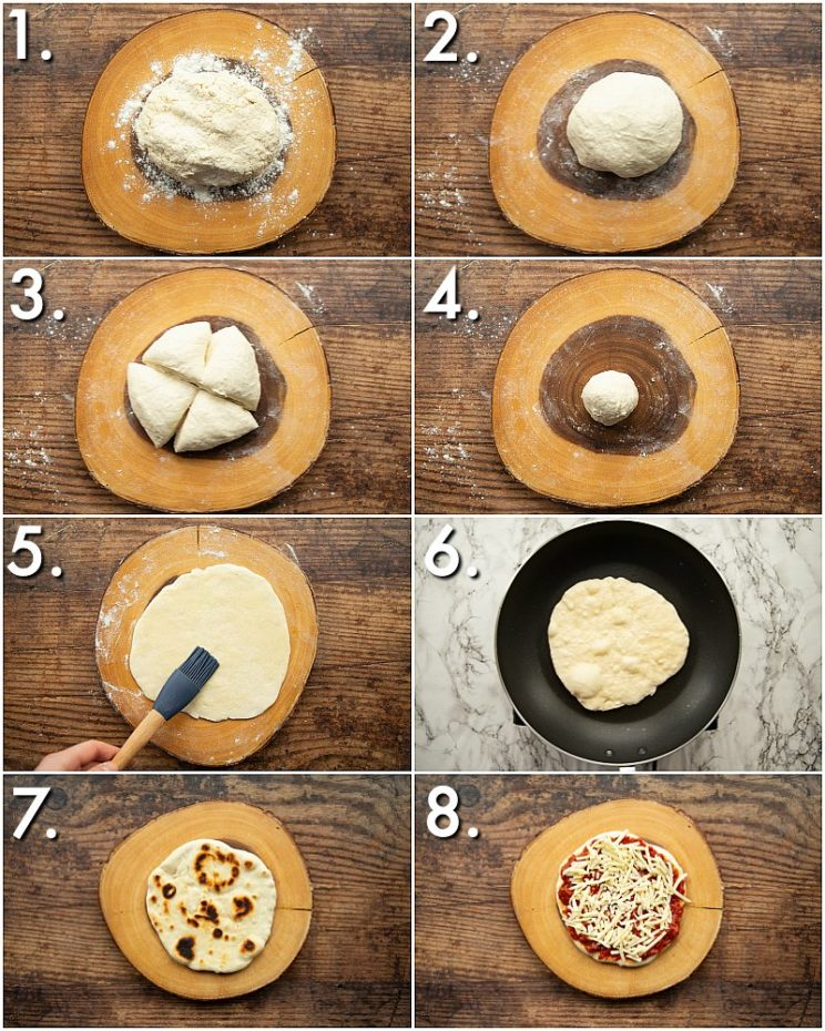 How to make flatbread pizzas - 8 step by step photos