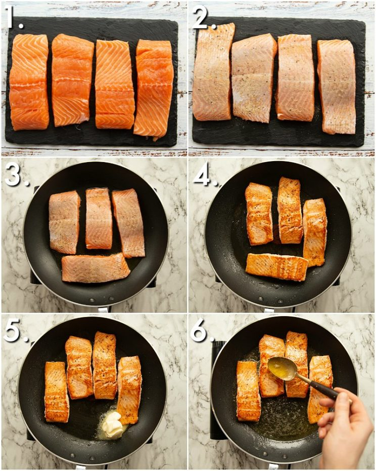 How to Pan Fry Salmon - 6 step by step photos