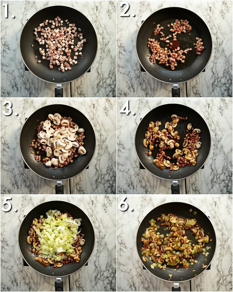 How to pan fry leek, pancetta and mushrooms - 6 step by step photos