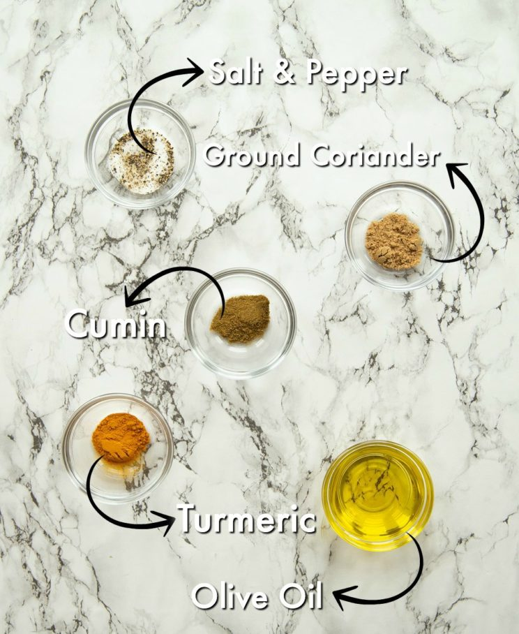 seasoning in small glass bowls with labels