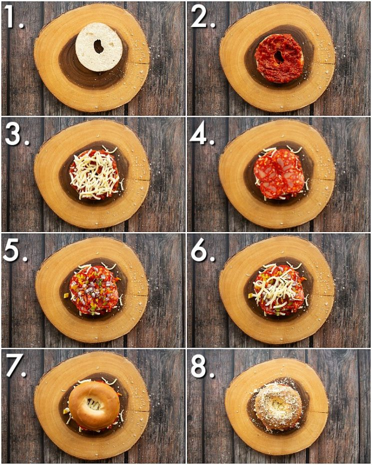 How to make pizza bagels - 8 step by step photos