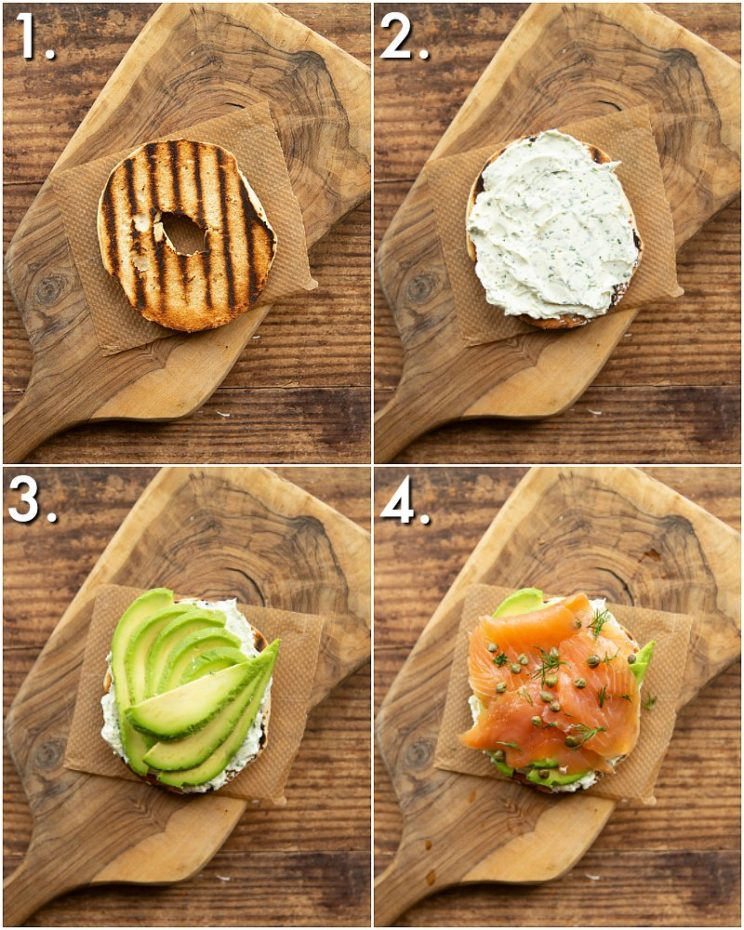 How to make a salmon bagel - 4 step by step photos