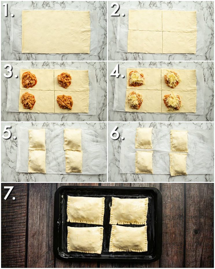How to make sausage, bean and cheese slices - 7 step by step photos
