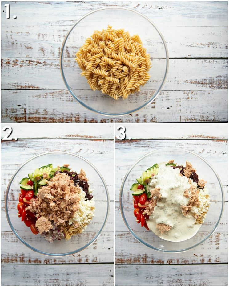 How to make tuna pasta salad - 3 step by step photos