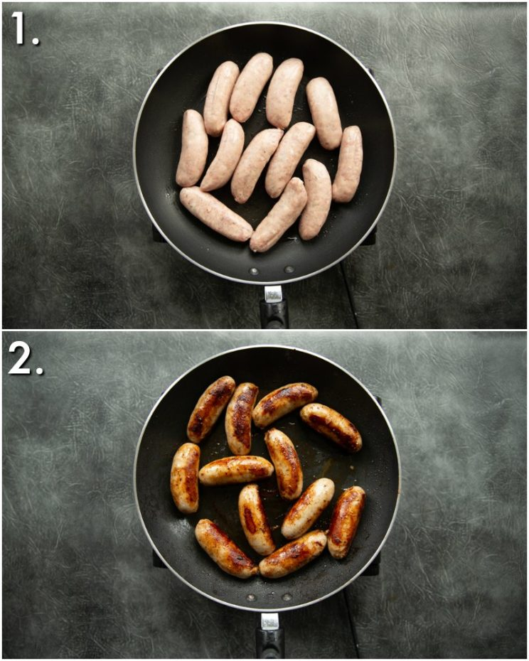 how to pan fry sausages - 2 step by step photos