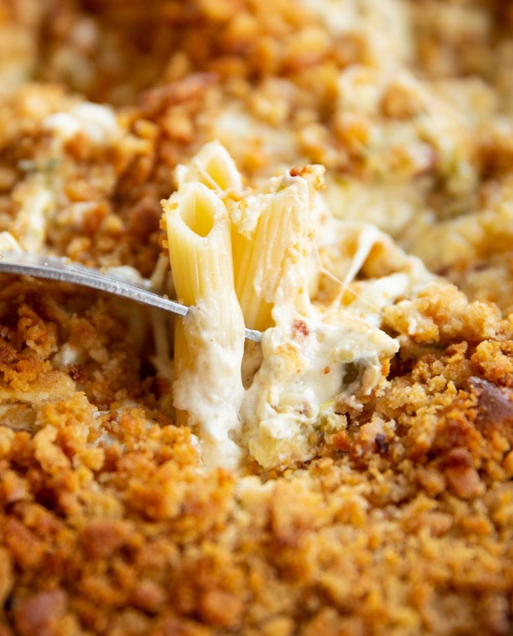 closeup shot of fork dunking penne pasta into dip