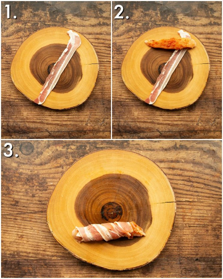 How to make bacon wrapped chicken tenders - 3 step by step photos