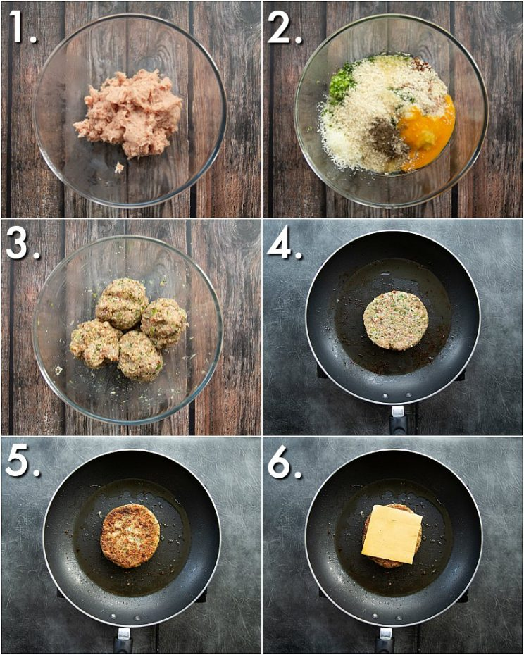 How to make ground chicken burgers - 6 step by step photos