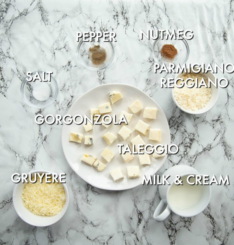 Four cheese pasta sauce ingredients with labels