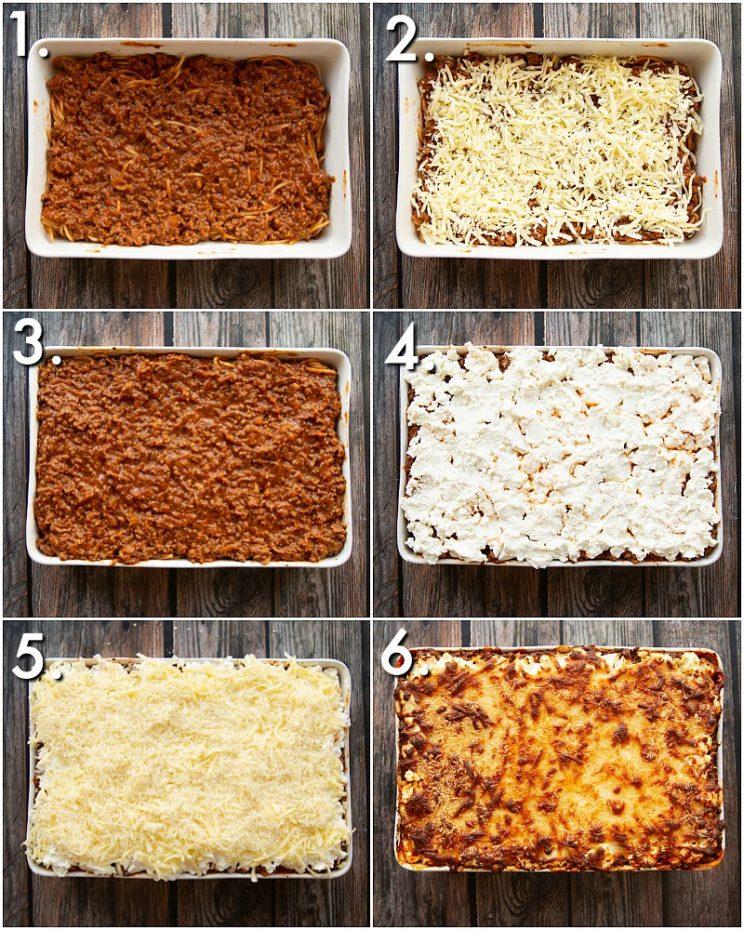 How to make baked spaghetti - process shots