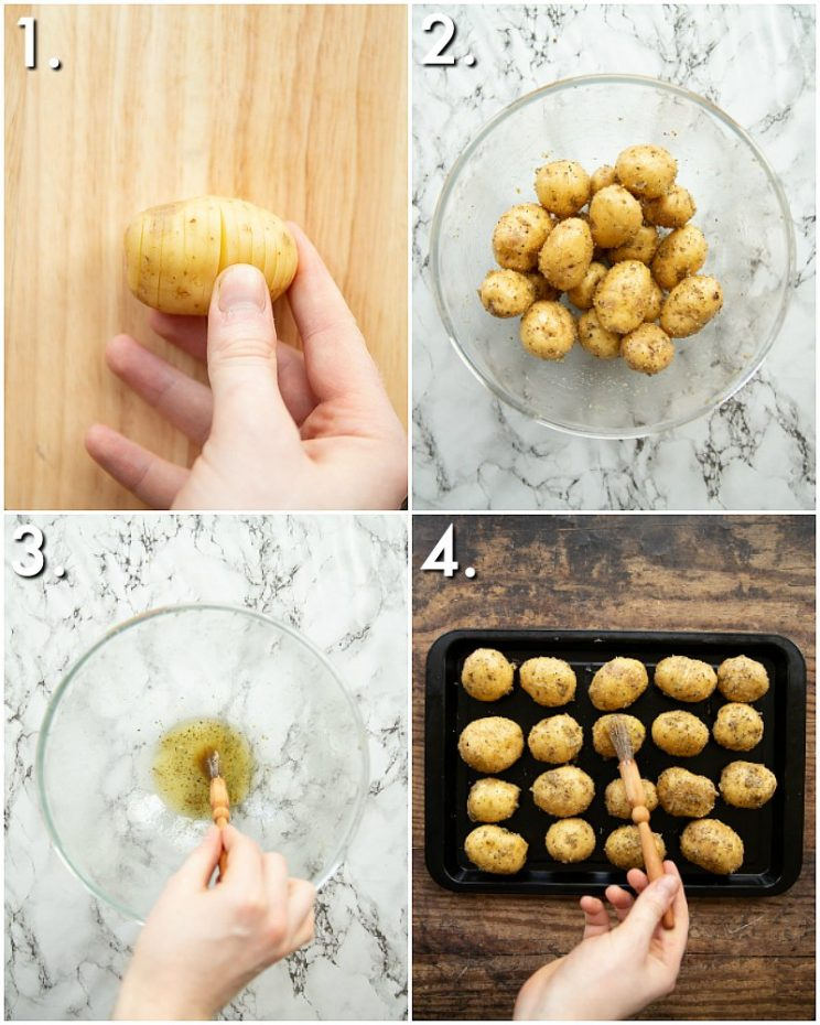 How to make mini hasselback potatoes - 4 step by step photos