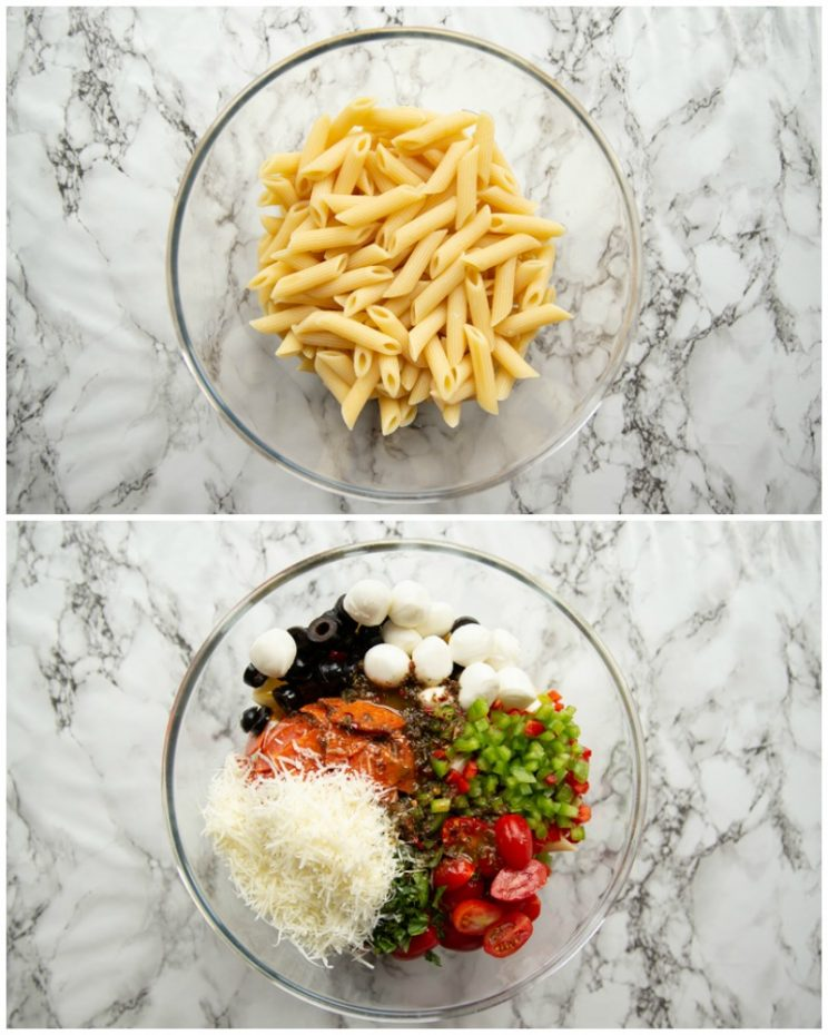 How to make pizza pasta salad - 2 step by step photos