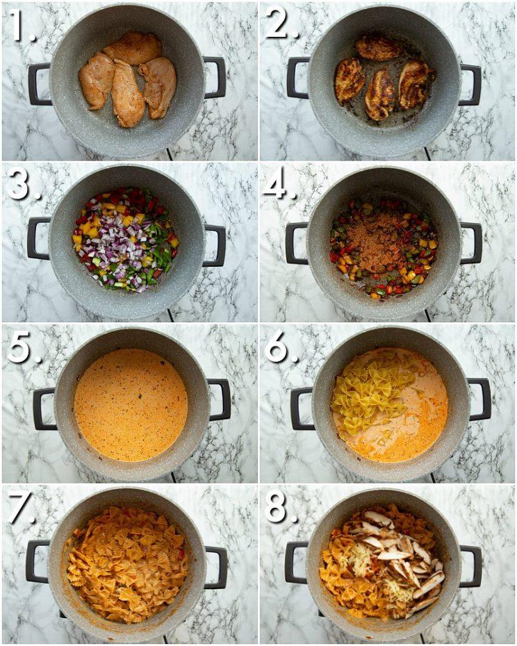How to make chicken fajita pasta - 8 step by step photos
