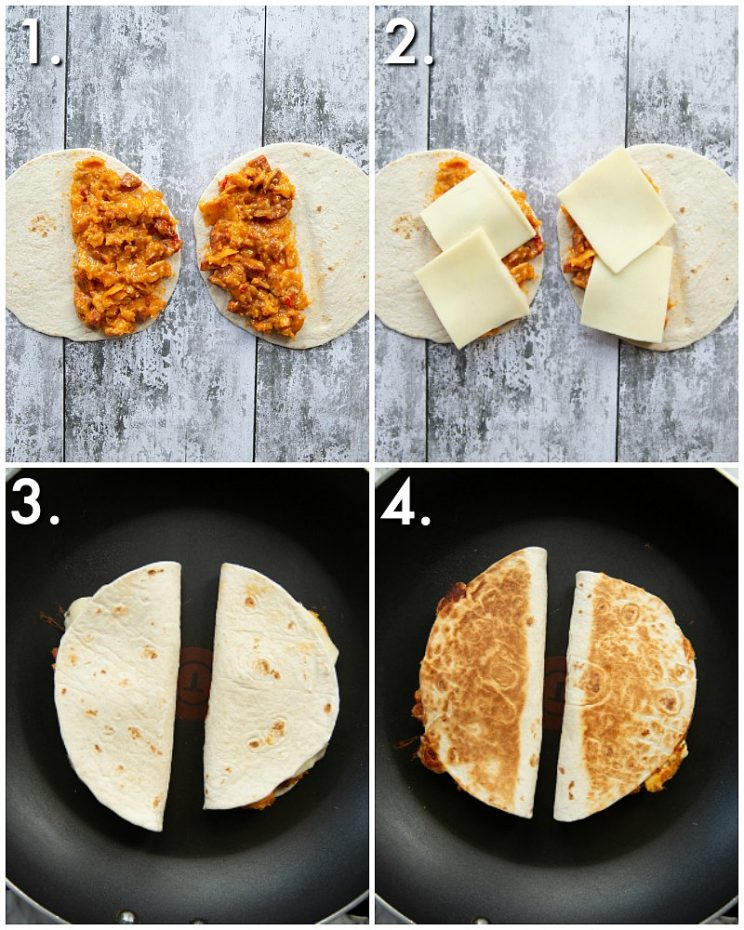 How to make chorizo egg quesadillas - 4 step by step photos