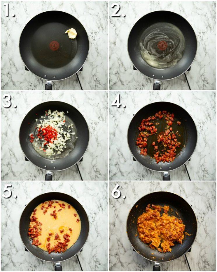 How to make chorizo scrambled eggs - 6 step by step photos