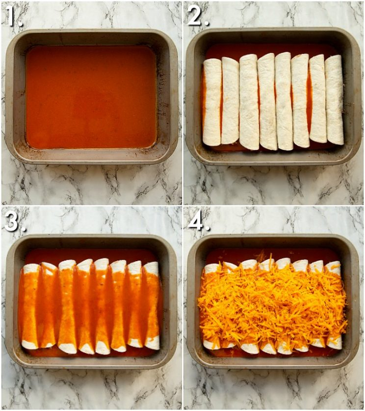 4 step by step photos showing How to bake enchiladas