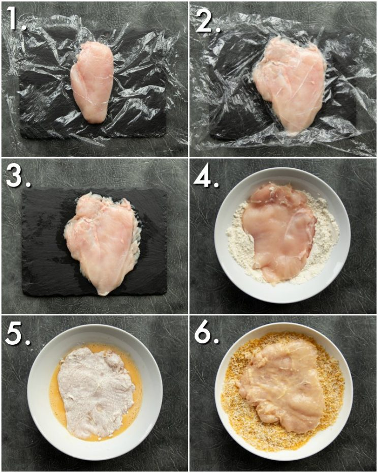 6 step by step photos showing how to bread chicken