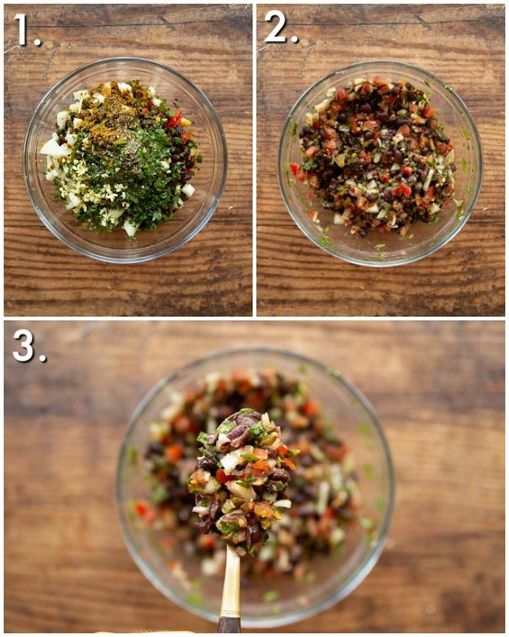3 step by step photos showing How to make Black Bean Salsa