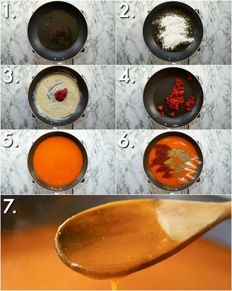 7 step by step photos showing How to make enchilada sauce