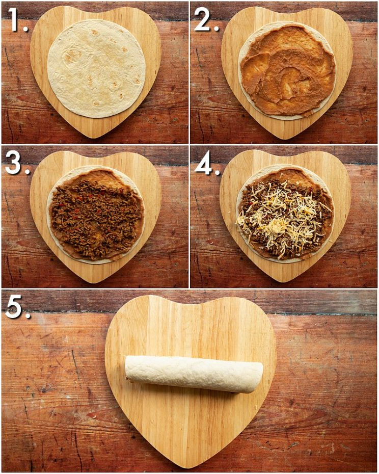 5 step by step photos showing How to roll enchiladas