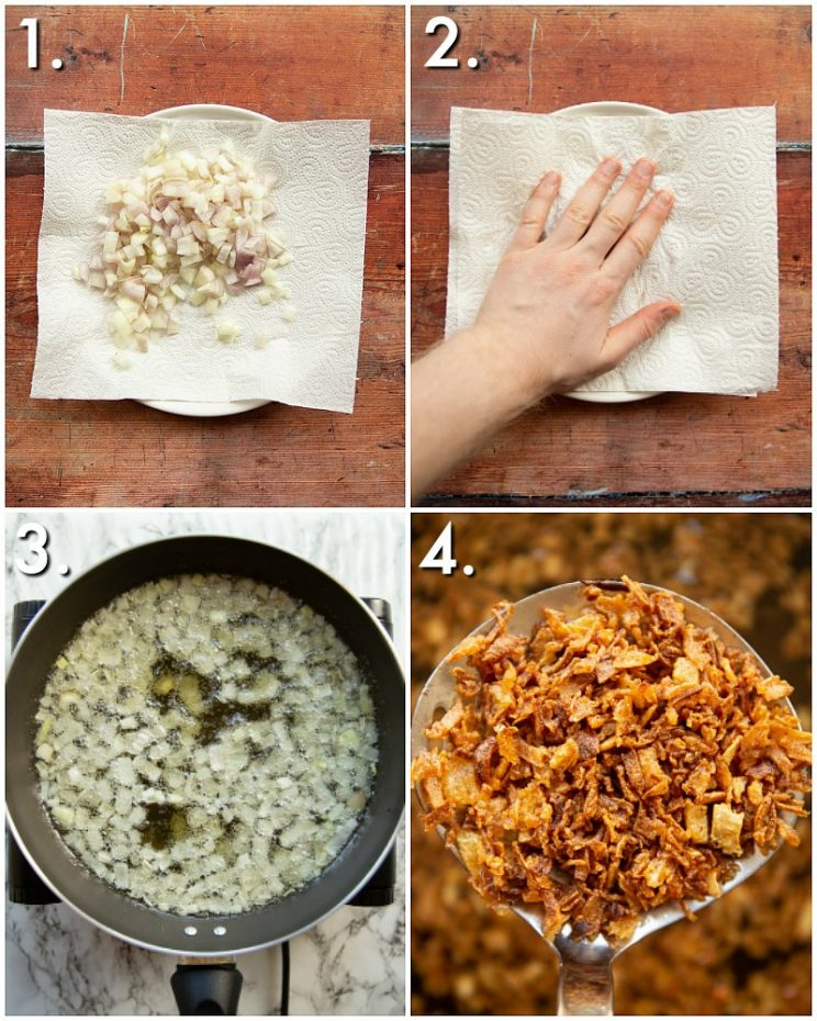 How to make fried shallots - 4 step by step photos