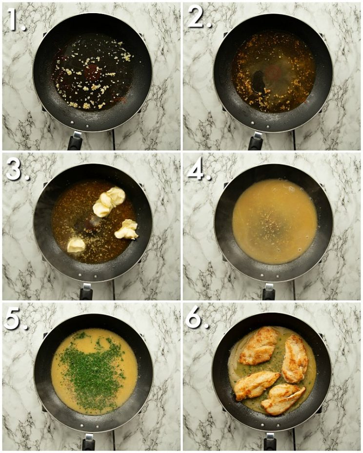 6 step by step photos of How to make garlic butter sauce