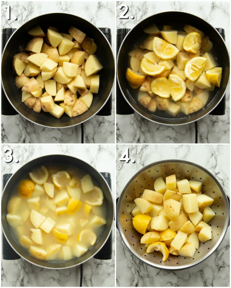 4 step by step photos of How to make lemon potatoes
