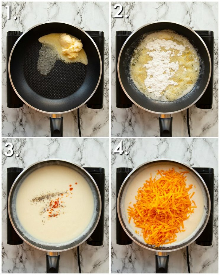 4 step by step photos showing How to make Nacho Cheese Sauce