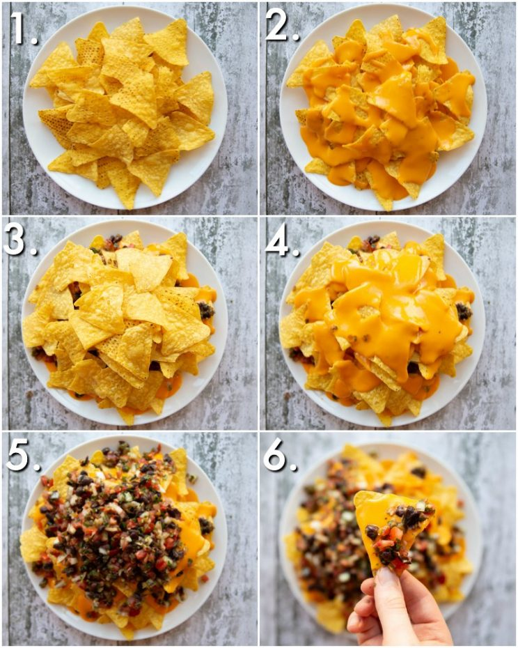6 step by step photos showing How to make Nachos