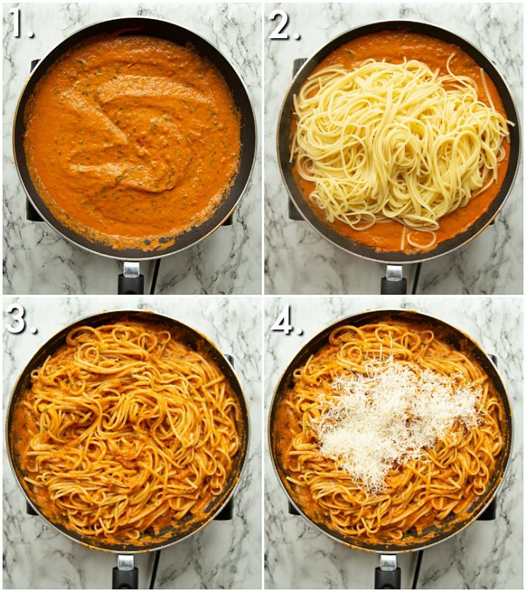 4 step by step photos of How to make pasta pomodoro