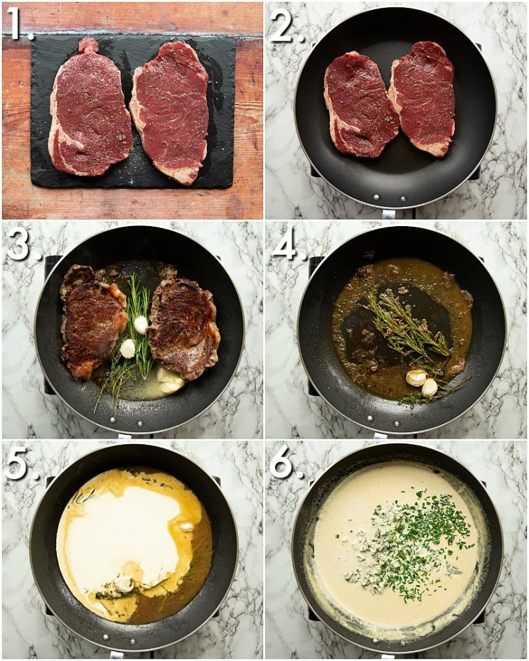 How to make steak and blue cheese sauce - 6 step by step photos