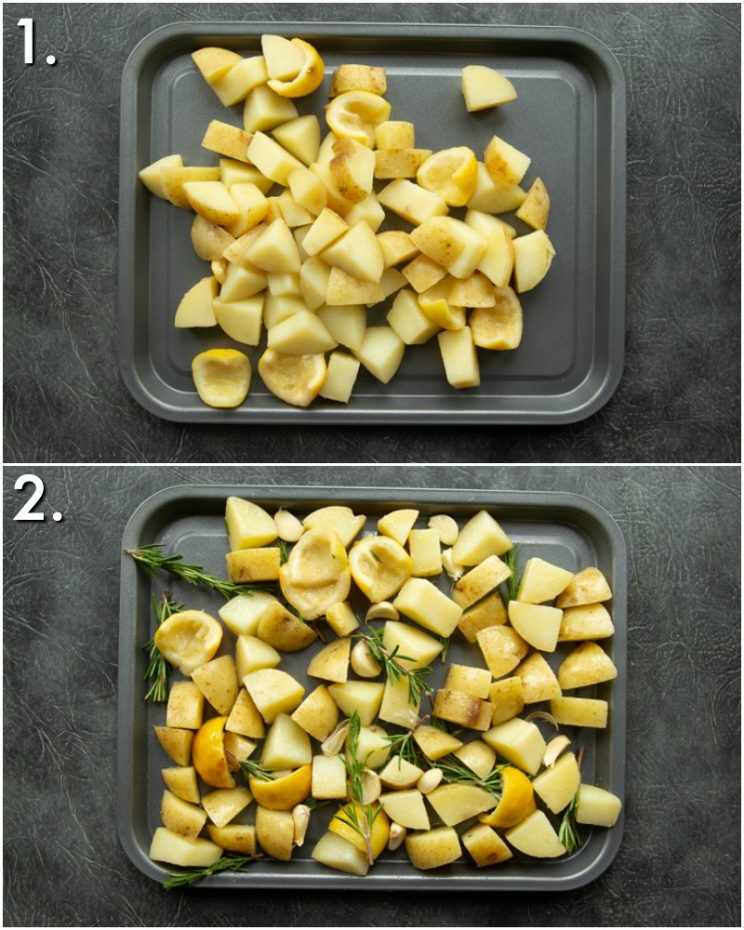 2 step by step photos of How to roast lemon potatoes