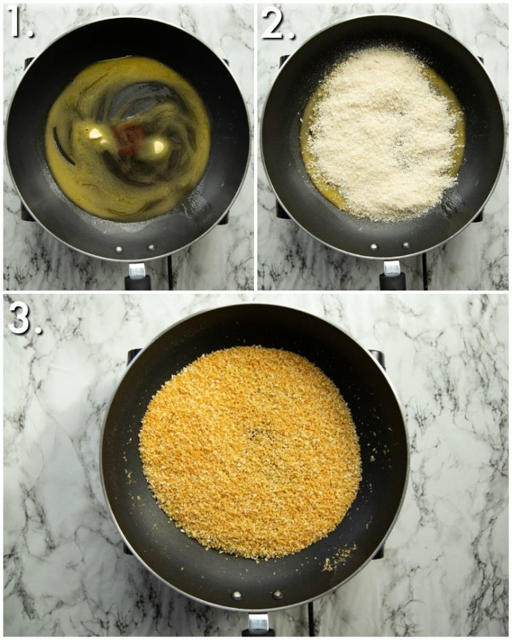3 step by step photos showing how to toast breadcrumbs