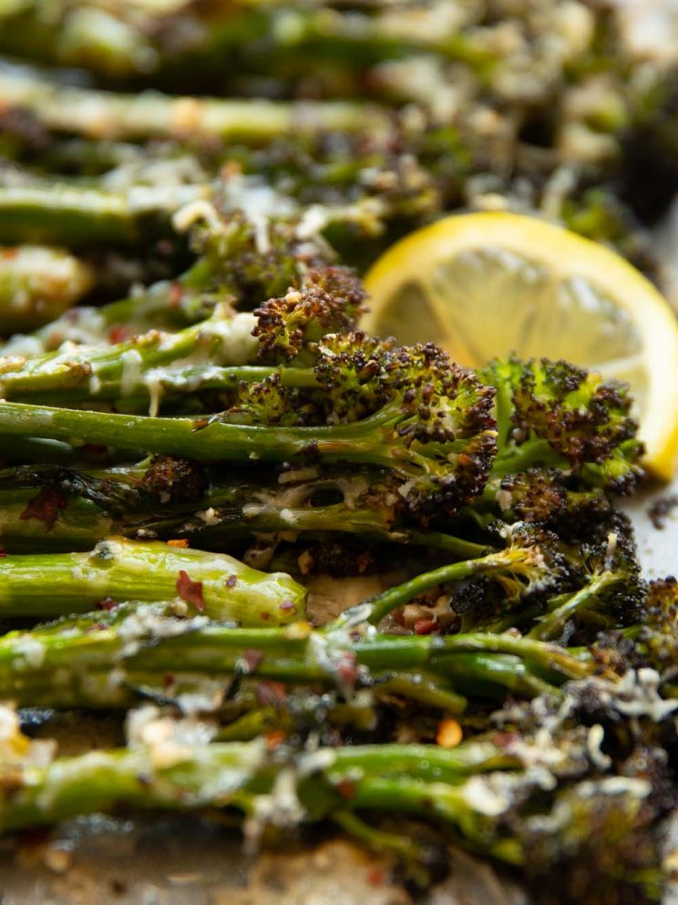 close up shot of tenderstem broccoli fresh out the oven