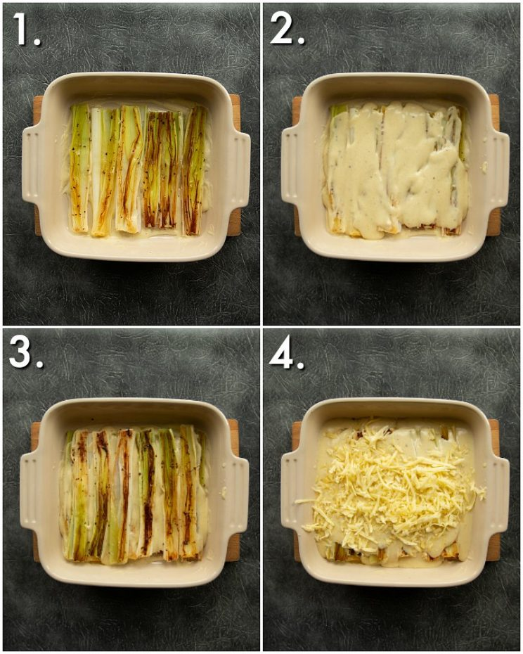 4 step by step photos showing how to bake leeks