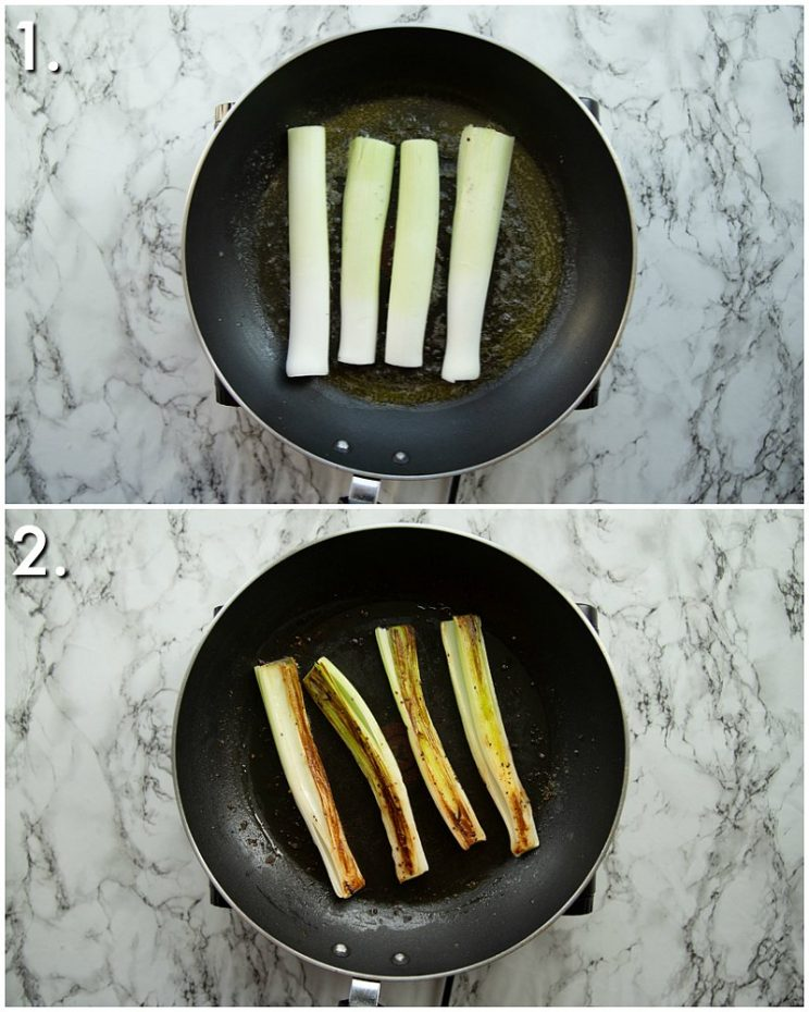 2 step by step photos showing how to fry leeks