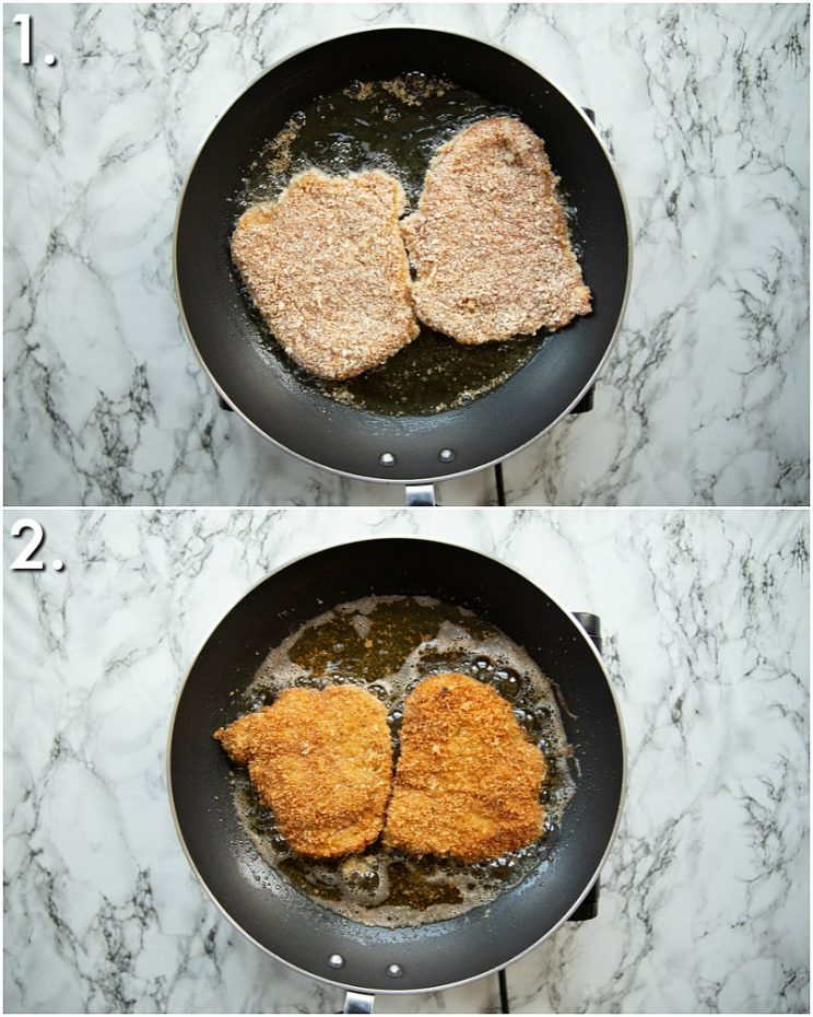 2 step by step photos showing how to fry pork schnitzel