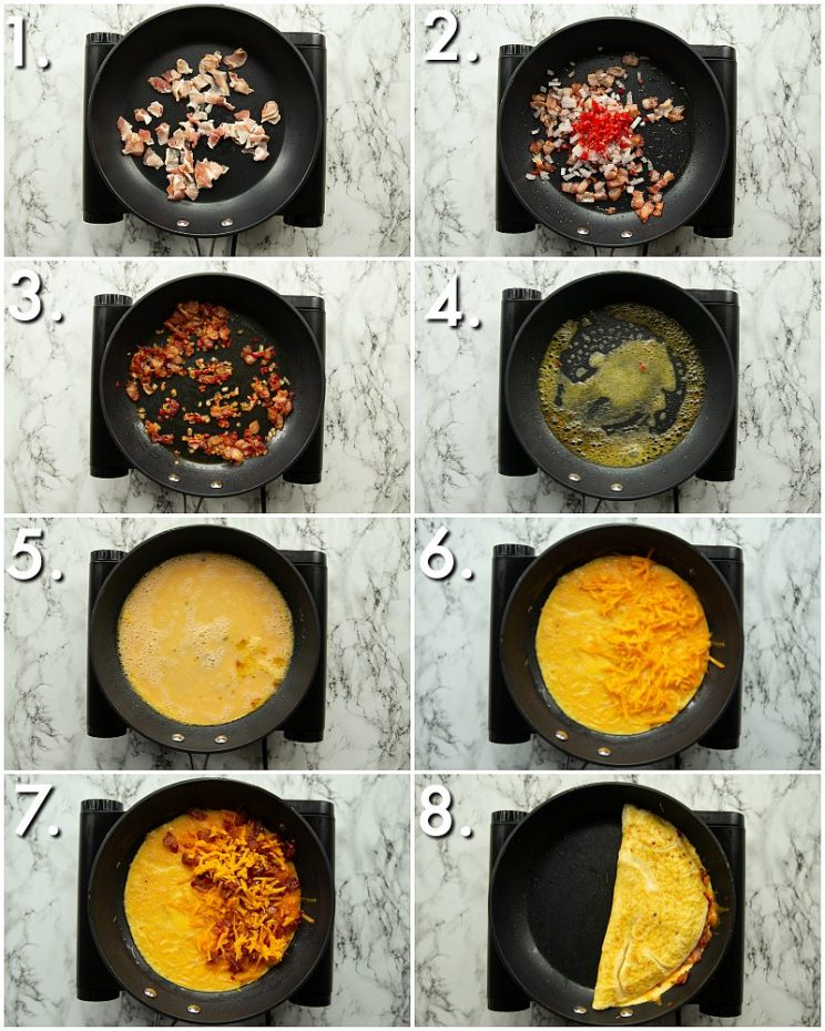 8 step by step photos showing how to make a cheese and bacon omelette