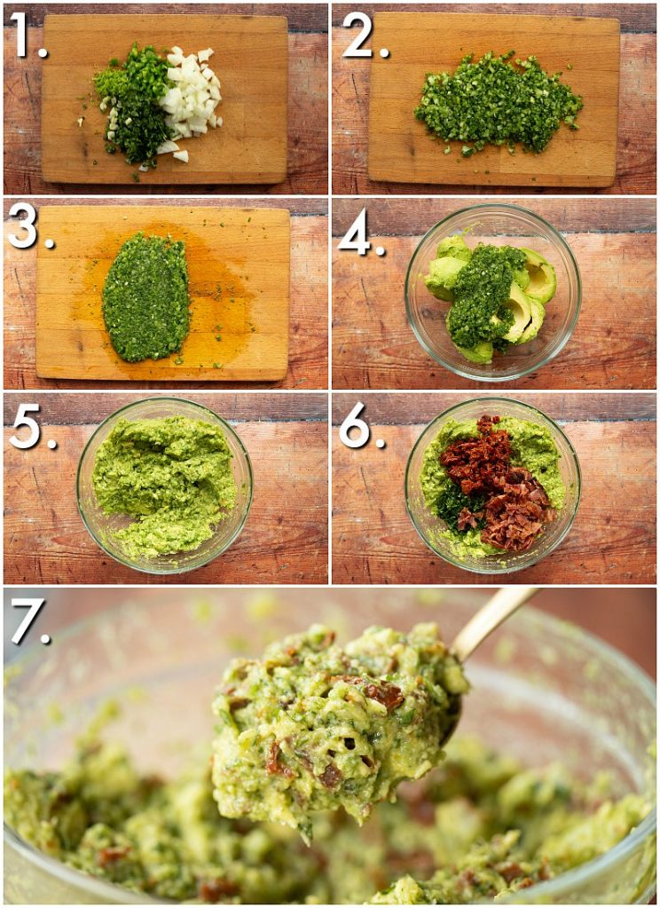 7 step by step photos showing How to make bacon guacamole