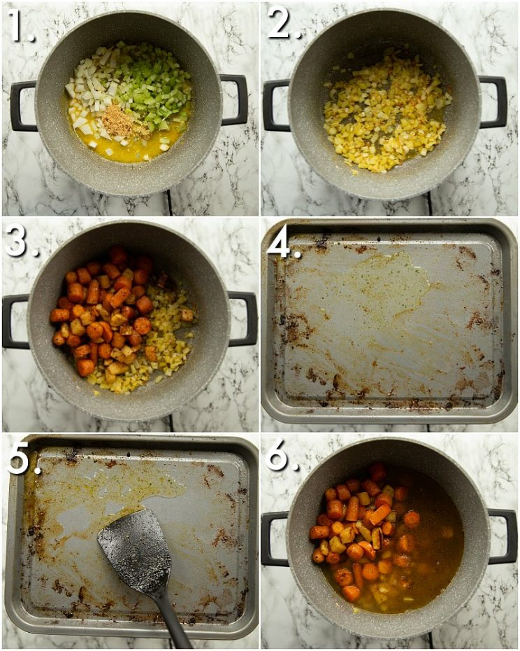 6 step by step photos showing how to make carrot soup