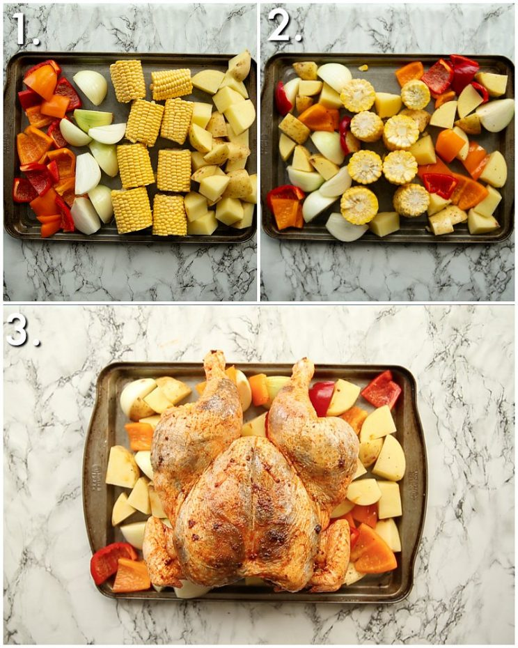3 step by step photos showing how to make chipotle chicken traybake
