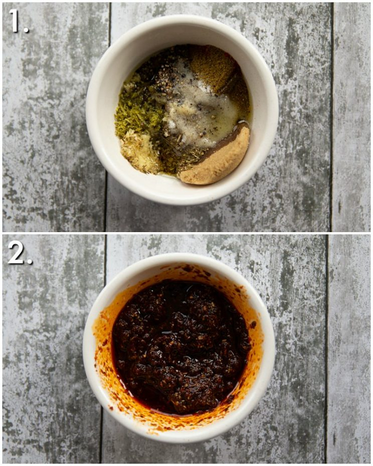 2 step by step photos showing how to make chipotle marinade