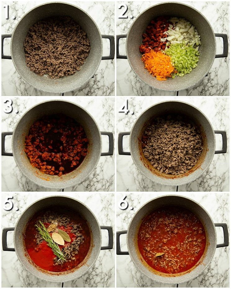 6 step by step photos showing how to make chorizo bolognese