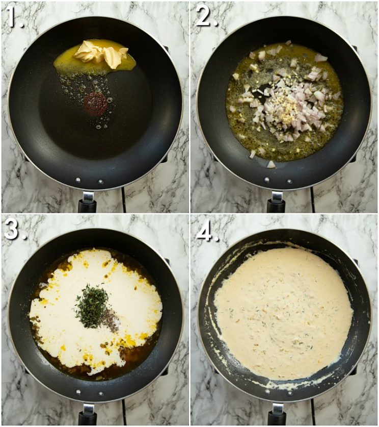 4 step by step photos showing how to make lemon thyme sauce