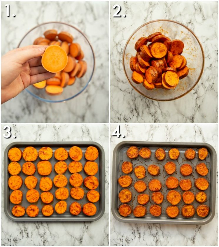 4 step by step photos showing How to make sweet potato bites