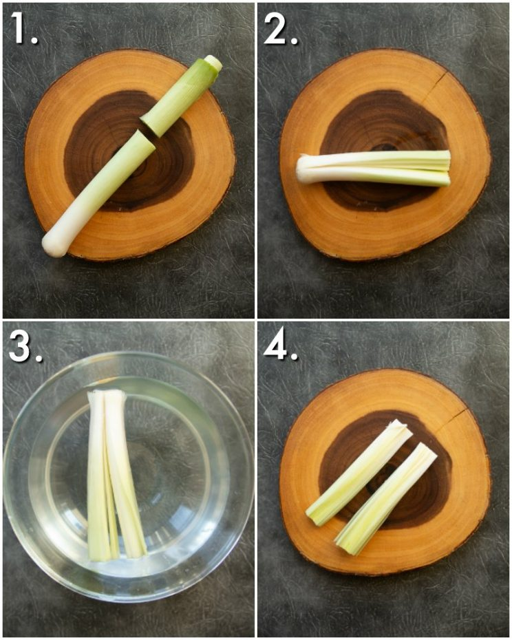 4 step by step photos showing how to prepare leeks