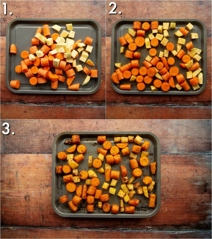 3 step by step photos showing how to roast carrot and swede