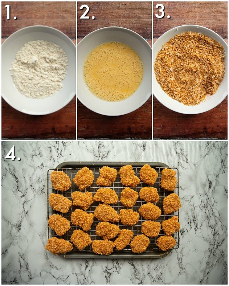 4 step by step photos showing how to coat chicken nuggets
