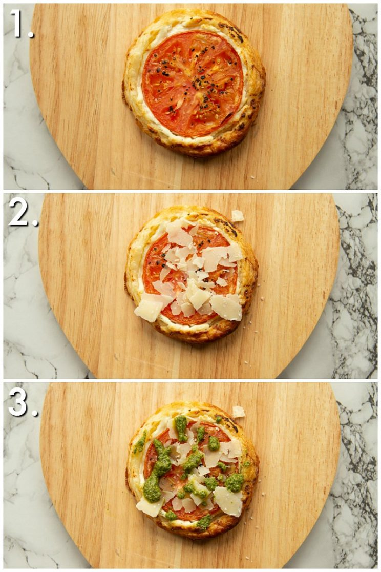 3 step by step photos showing how to garnish cheese and tomato tarts