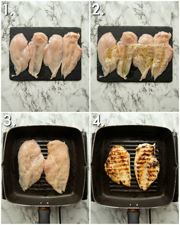 4 step by step photos showing how to grill chicken
